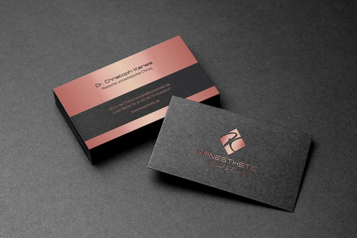 Printdesign und Visitenkarten KANESTHETIC – Breast & Beauty